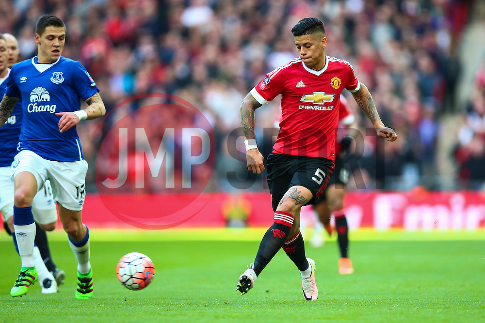 Marcos Rojo of Manchester United in action - Mandatory byline: Jason Brown/JMP - 07966386802 - 23/04/2016 - FOOTBALL - Wembley Stadium - London, England - Everton v Manchester United - The Emirates FA Cup