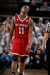CHAPEL HILL, NC - JANUARY 27: Markell Johnson #11 of the North Carolina State Wolfpack reacts during a game against the North Carolina Tar Heels on January 27, 2018 at the Dean Smith Center in Chapel Hill, North Carolina. North Carolina lost 95-91. (Photo by Peyton Williams/UNC/Getty Images) *** Local Caption *** Markell Johnson