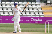 50 - Dane Vilas raises his bat on reaching 50 during the Bob Willis Trophy match between Lancashire County Cricket Club and Leicestershire County Cricket Club at Blackfinch New Road, Worcester, United Kingdom on 1 August 2020.