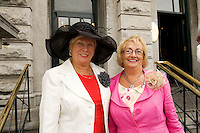 Sylvia O Shea from Rochestoown Rd and Kathleen Turtle from Cork City  at Hotel Meyrick in Eyre Sq. Galway for their best dressed Lady Competition during Galway's Race week . Photo:Andrew Downes