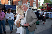 BASIA BRIGGS; JOHN RENDALL, Pimlico Road party. 22 June 2010. -DO NOT ARCHIVE-© Copyright Photograph by Dafydd Jones. 248 Clapham Rd. London SW9 0PZ. Tel 0207 820 0771. www.dafjones.com.