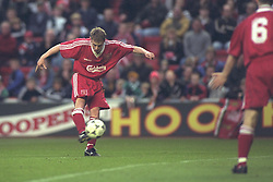 LIVERPOOL, ENGLAND - MAY 1996: Liverpool's Stuart Quinn scores against West Ham United during the FA Youth Cup Final 2nd Leg at Anfield. (Pic by David Rawcliffe/Propaganda)