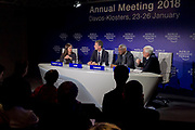"""Katherine Garrett-Cox, Chief Executive Officer, Gulf International Bank (UK), United Kingdom<br /> John McDonnell, Shadow Chancellor of the Exchequer of the United Kingdom<br /> Peter Kodwo Appiah Turkson, Cardinal; Prefect, Dicastery for Promoting Integral Human Development, Vatican City State,<br /> Oliver Cann, Head of Media Content, World Economic Forum<br /> speaking during the Session """"Will Free Markets Make a Comeback?"""" at the Annual Meeting 2018 of the World Economic Forum in Davos, January 26, 2018.<br /> Copyright by World Economic Forum / Greg Beadle"""