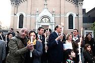 Roma 21 Aprile 2010.Fiaccolata contro lo spaccio di droga al quartiere San Lorenzo..Il Presidente del III municipio Dario Marcucci vicino al delegato comunale alla Sicurezza Giorgio Ciardi    .Rome April 21, 2010.Torchlight against drug dealing in San Lorenzo district..The President of the City Hall III Dario Marcucci