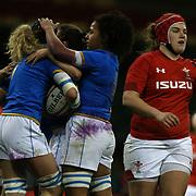 Cardiff 11/03/2018, Principality Stadium<br /> Natwest 6 nations 2018 Femminile<br /> Galles vs Italia<br /> le azzurre festeggiano la meta di Isabella Locatelli