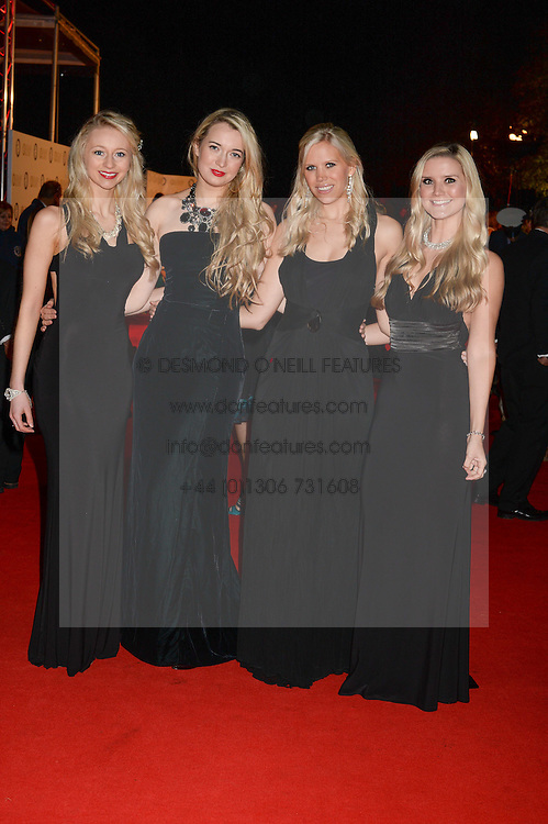 Classical & Opera group Passionata, left to right, RHIANNON LAMBERT, AMELIA KNIGHT, CECELIA DE LISLE and SOPHIE ELLIOTT at the Collars & Coats Gala Ball in aid of Battersea Dogs & Cats Home held at Battersea Evolution, Battersea Park, London on 7th November 2013.