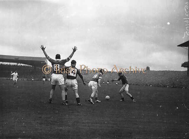 Kerry full back N. Sheeh appeals for free in vain during the All Ireland Senior Gaelic Football Final Kerry v Down in Croke Park on the 22nd September 1960. Down 2-10 Kerry 0-8.