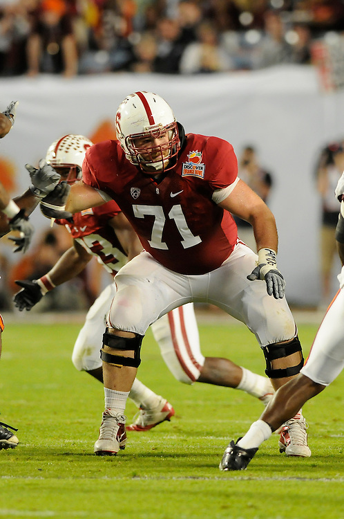 January 3, 2011: Andrew Phillips of the Stanford Cardinal in action during the NCAA football game between the Stanford Cardinal and the Virginia Tech Hokies at the 2011 Orange Bowl in Miami Gardens, Florida. Stanford defeated Virginia Tech 40-12.