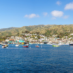 Catalina Island Avalon Harbor extra high resolution panorama photo. Beautiful Santa Catalina Island is a popular travel destination off the Southern California coast. Copyright ⓒ 2017 Paul Velgos with All Rights Reserved.