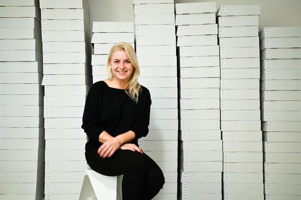 Fashion designer Ania Kuczynska in her atelier in Mokotowska, Warsaw