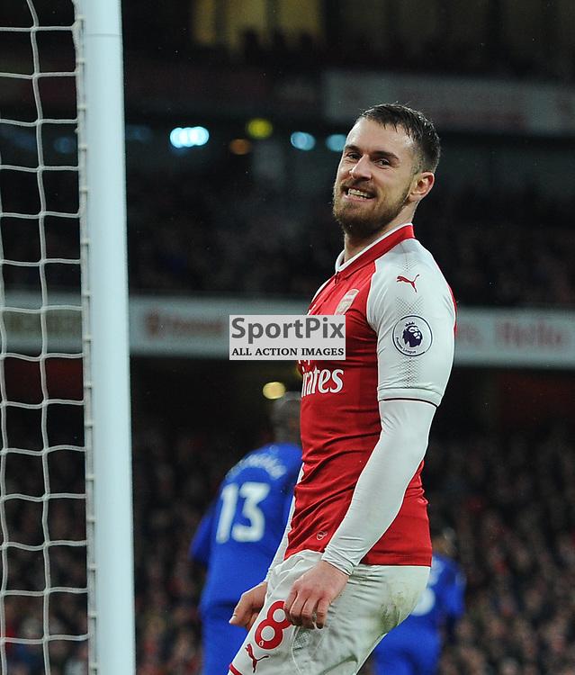 Aaron Ramsey of Arsenal reacts during Arsenal vs Everton, Premier League, 03.02.18 (c) Harriet Lander | SportPix.org.uk