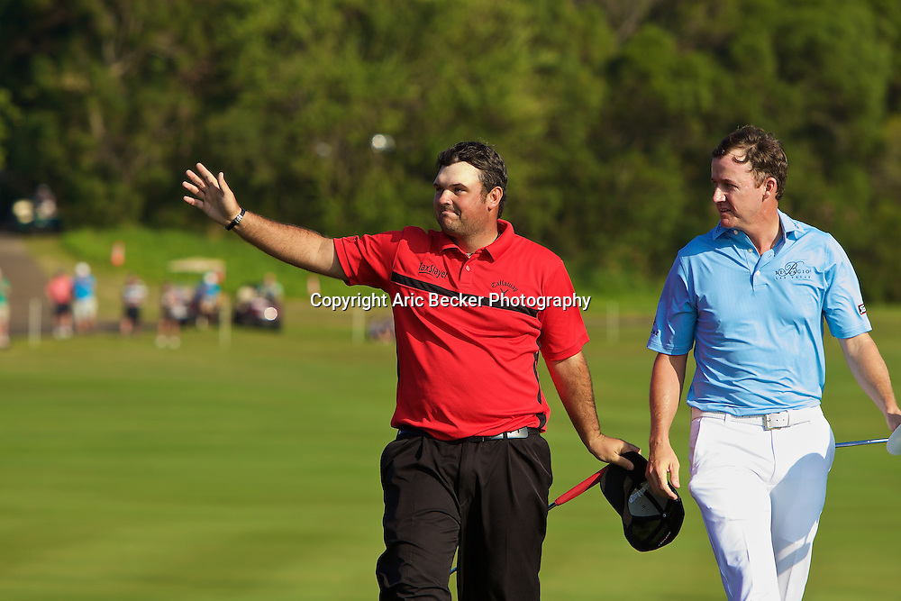 January 12 2015: Winner Patrick Reed on eighteen during the Final Round of the Hyundai Tournament of Champions at Kapalua Plantation Course on Maui, HI.