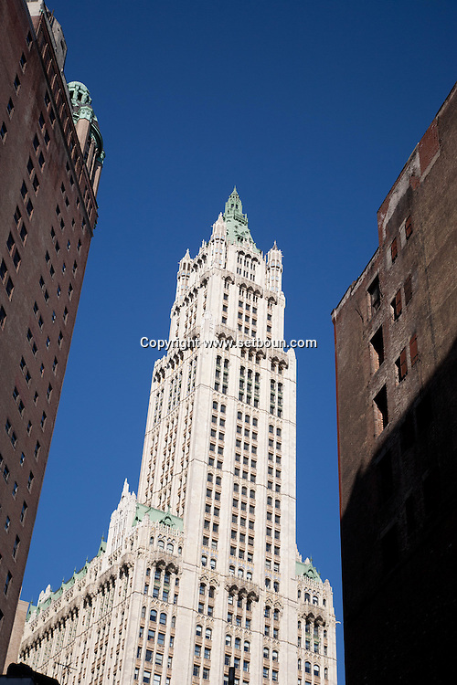 New York, woolworth building neo gothic in lower Manhattan