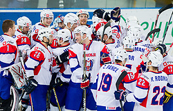 Players of Slovenia celebrate after the ice-hockey match between Slovenia and Ukraine at IIHF World Championship DIV. I Group A Slovenia 2012, on April 19, 2012 in Arena Stozice, Ljubljana, Slovenia. Slovenia defeated Ukraine 3-2. (Photo by Vid Ponikvar / Sportida.com)