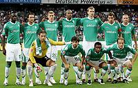Fotball<br /> 15.08.2007<br /> Tyskland<br /> Foto: Witters/Digitalsport<br /> NORWAY ONLY<br /> <br /> Lagbilde Werder Bremen<br /> Fussballelf SV Werder Bremen<br /> hinten v.l. Boubacar Sanogo, Christian Schulz, Kevin Schindler, Naldo, Per Mertesacker, Frank Baumann, Leon Andreasen<br /> vorn v.l. Tim Wiese, Diego, Carlos Alberto, Petri Pasanen<br /> <br /> Champions League Qualifikation SV Werder Bremen - NK Dinamo Zagreb