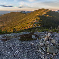 The Appalachian Trail on Saddleback Mountain in Maine's High Peaks Region. The summit of The Horn is in the background.