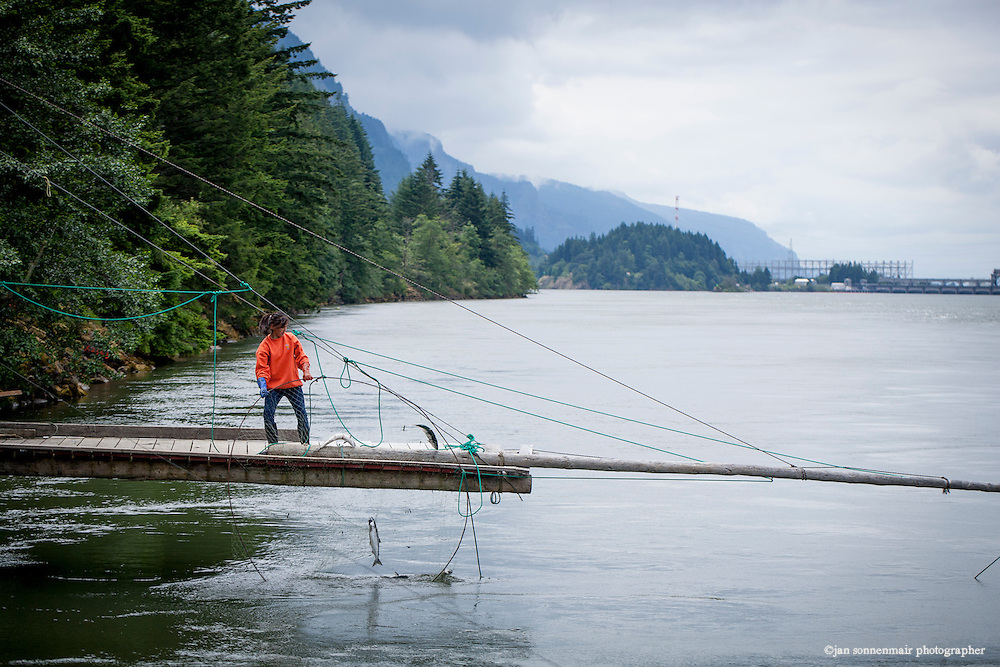 A mother and daughter pull salmon from their gill nets on their families' platform.  Bonneville Dam in the background. Indian Fishers at Cascade Locks near Portland, Oregon fish for Salmon on platforms that have been in their family for generations.  The Indians are the only peoples with permits to fish this way on the Columbia River.  They sell fresh Salmon to buyers from the area.  They use traditional dip net and gill net fishing.