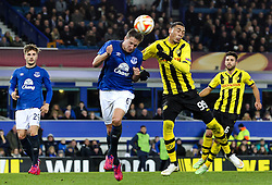 Guillaume Hoarau of BSC Young Boys challenges Everton's Phil Jagielka  - Photo mandatory by-line: Matt McNulty/JMP - Mobile: 07966 386802 - 26/02/2015 - SPORT - Football - Liverpool - Goodison Park - Everton v Young Boys - UEFA EUROPA LEAGUE ROUND OF 32 SECOND LEG