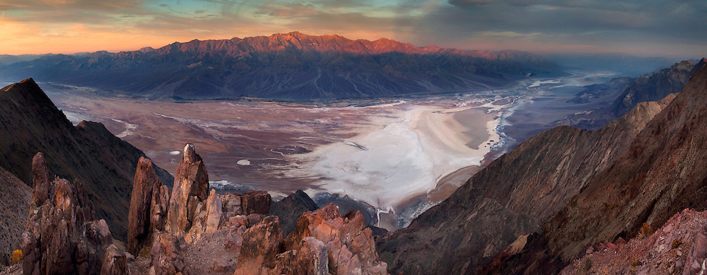 Morning light on the Panamint Mountains over Badwater Basin,  from Dantes View, Death Valley National Park, California