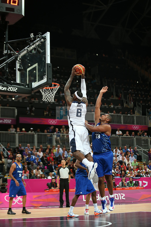 LeBron James of the USA in action against France during Day 2 of the London Olympic Games in London, England, United Kingdom on 29 Jul 2012..(Jed Jacobsohn/for The New York Times)....