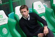 14th October 2017, Celtic Park, Glasgow, Scotland; Scottish Premiership football, Celtic versus Dundee; Dundee manager Neil McCann