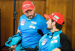 Tomas Kos and Jakov Fak during official presentation of the outfits of the Slovenian Ski Teams before new season 2015/16, on October 6, 2015 in Kulinarika Jezersek, Sora, Slovenia. Photo by Vid Ponikvar / Sportida