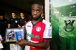 Christopher Sorrene Makengo of NK Aluminij with his award PSAC Athlete of the year 2018 prior to the football match between NK Aluminij and NK Olimpija Ljubljana in the Final of Slovenian Football Cup 2017/18, on May 30, 2018 in SRC Stozice, Ljubljana, Slovenia. Photo by Vid Ponikvar / Sportida