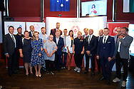 Warsaw, Poland - 2016 August 30: Anna Lewandowska President of Special Olympics Poland with Special Olympics Family (Robert Grader and Joanna Styczen and Jacek Kasprzyk and Kinga Baranowska and Kuba Wesolowski and Andrzej Supron and Andrzej Wrona and Zygmunt Hajzer nd Krzysztof Lewandowski and Jacek Bednarz and Mariusz Paszkiel and Michal Olszanski and Cezary Pazura)  pose to the picture during press conference Special Olympics Poland at Marriott Champions Bar on August  30, 2016 in Warsaw, Poland.<br /> <br /> Adam Nurkiewicz declares that he has no rights to the image of people at the photographs of his authorship.<br /> <br /> Picture also available in RAW (NEF) or TIFF format on special request.<br /> <br /> Any editorial, commercial or promotional use requires written permission from the author of image.<br /> <br /> Mandatory credit:<br /> Photo by © Adam Nurkiewicz