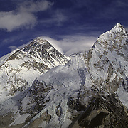 Mount Everest (center) and Nuptse (right) from the summit of Kala Pattar, Khumbu Valley, Nepal.