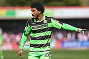 Forest Green Rovers Reuben Reid(26) during the EFL Sky Bet League 2 match between Cheltenham Town and Forest Green Rovers at LCI Rail Stadium, Cheltenham, England on 14 April 2018. Picture by Shane Healey.