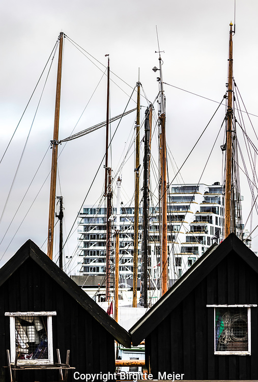 Two black wooden cabins, used as storage at a sail boat harbour, with masts from the sail boats and modern architecture as backdrop. In Denmark Scandinavia.