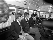 The Rolling Stones Charlie is my Darling - Ireland 1965 -..The Rolling Stones in the airport bus on route to the customs hall at Dublin Airport before thier concert at the Adelphi Theatre during their second  Irish tour of 1965. L-R Charlie Watts (drums), Mick Jagger (vocals), Keith Richards (guitar) and  Bill Wyman (bass). This was the band's second Irish tour of 1965....07/01/1965.01/07/1965.07 January 1965.  Christmas gifts of Limited Edition Prints of Charlie Watts, Mick Jagger, Keith Richards,  Bill Wyman,  The Rolling Stones, Charlie is my Darling, Ireland 1965.  <br />