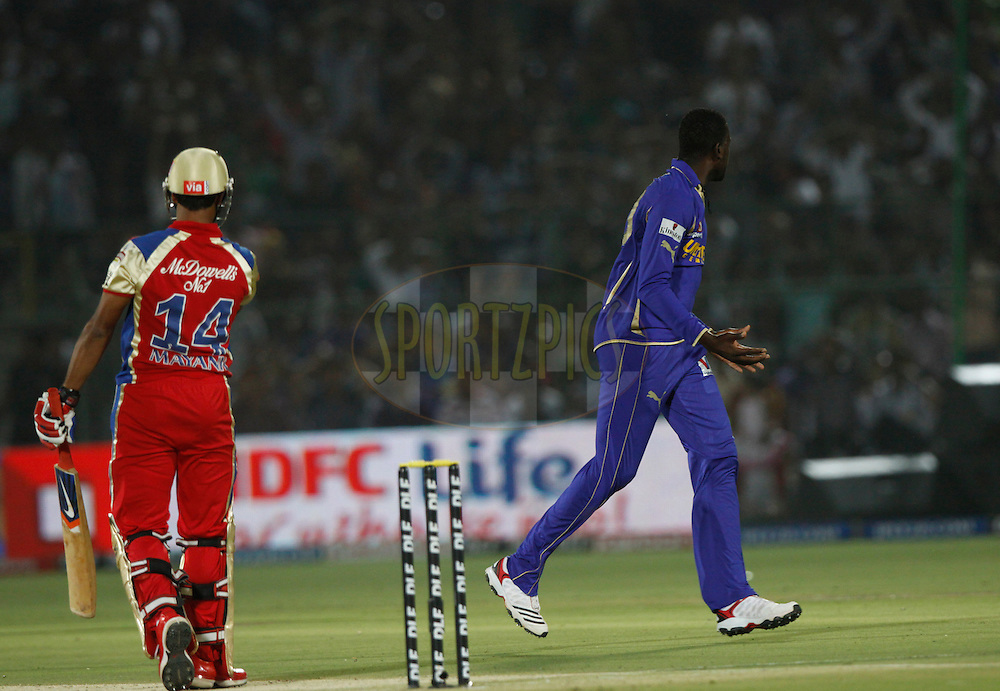 Rajasthan Royals player Kevon Cooper reacts after drop Katch on his ball during match 30 of the the Indian Premier League ( IPL) 2012  between The Rajasthan Royals and the Royal Challengers Bangalore held at the Sawai Mansingh Stadium in Jaipur on the 23rd April 2012..Photo by Pankaj Nangia/IPL/SPORTZPICS