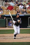 GLENDALE, AZ - MARCH 05:  Kosuke Fukudome #1 of the Chicago White Sox bats against the Los Angeles Dodgers on March 5, 2012 at The Ballpark at Camelback Ranch in Glendale, Arizona. The Dodgers defeated the White Sox 6-4.  (Photo by Ron Vesely)  Subject:  Kosuke Fukudome