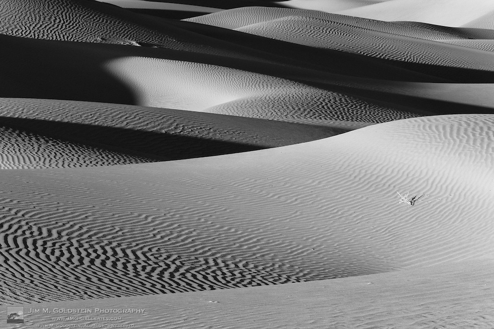 Black and white photo of the Mosquite Dunes - Death Valley National Park, California