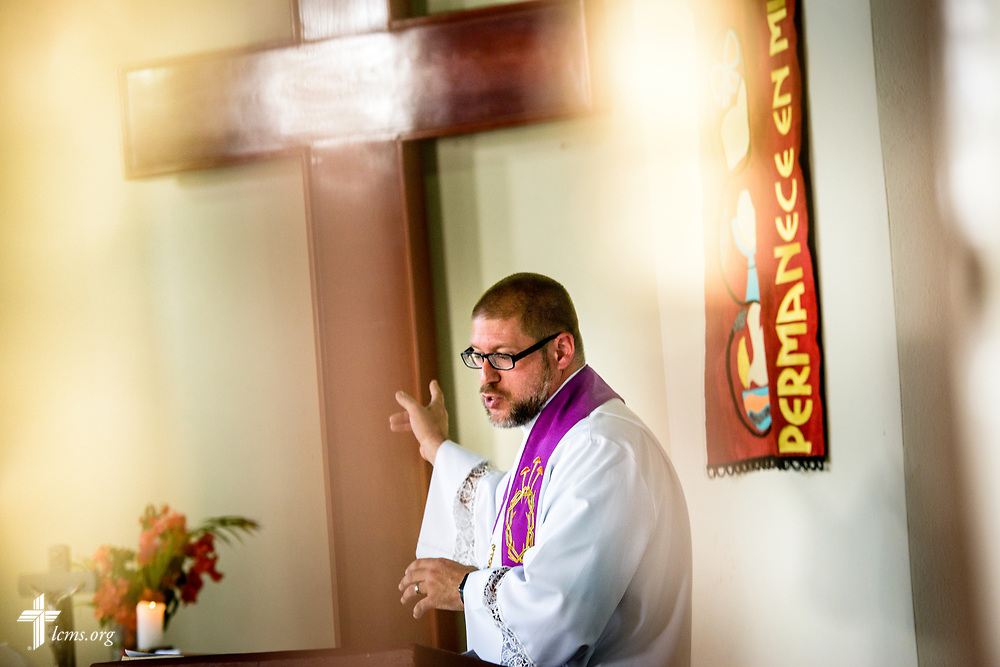 The Rev. Joel Fritsche, LCMS career missionary to the Dominican Republic, preaches during worship on Sunday, March 19, 2017, at Amigos de Cristo Iglesia Luterana in Las Americas (Friends of Christ Lutheran Church in the Americas) in Santo Domingo, Dominican Republic. LCMS Communications/Erik M. Lunsford