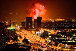 Barcelona, Catalunya,Spain. <br /> Fireworks in Barcelona.<br /> &copy;Carmen Secanella