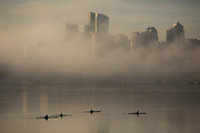 Rowers coast across Lake Union with a soft white backround of fog enveloping downtown Seattle on a beautiful fall morning. (Steve Ringman / The Seattle Times)