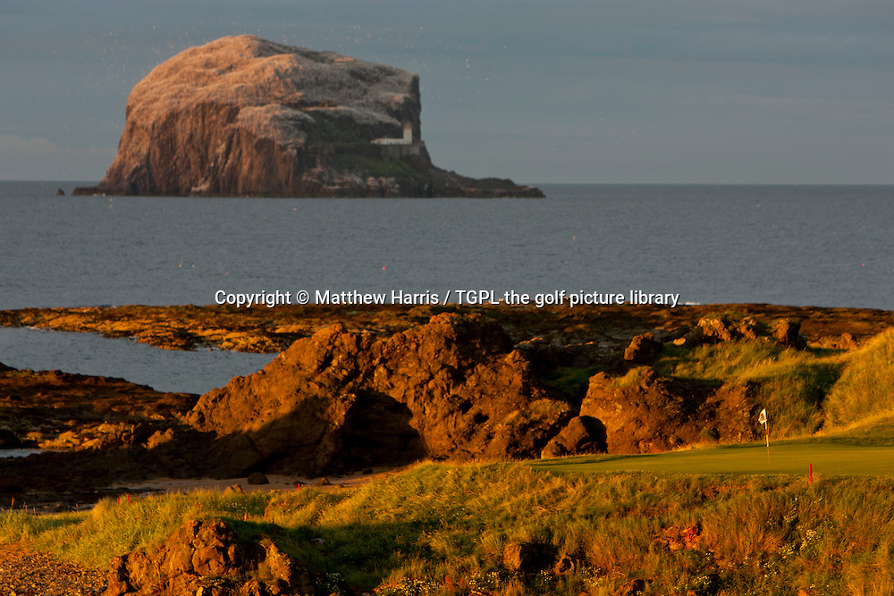 13th par 3 (148 yards) with the famous Bass Rock in the background The Glen during summer ,North Berwick,East Lothian,Scotland.