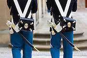 Royal Guard, Den Kongelige Livgarde, in uniform at Royal Amalienborg Palace, Copenhagen, Denmark