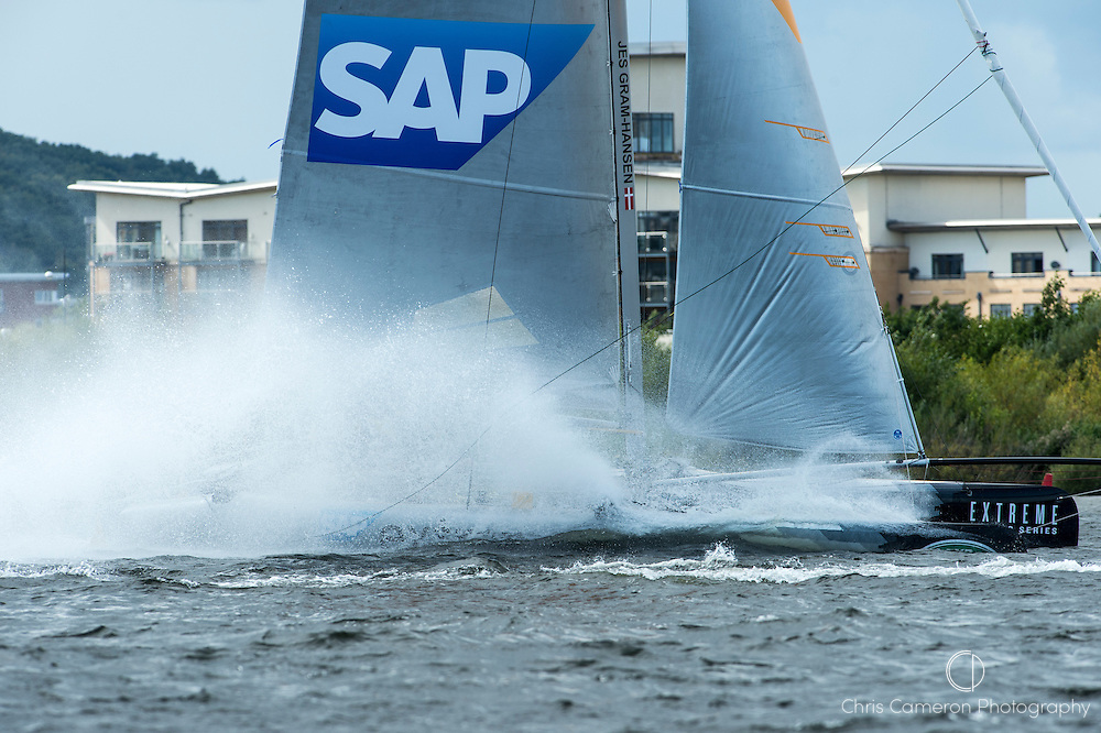 SAP Extreme Sailing Team practice racing on practice day for the Cardiff Extreme Sailing Series Regatta. 21/8/2014