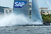 SAP Extreme Sailing Team practice racing on practice day for the Cardiff Extreme Sailing Series Regatta. 21/8/2014