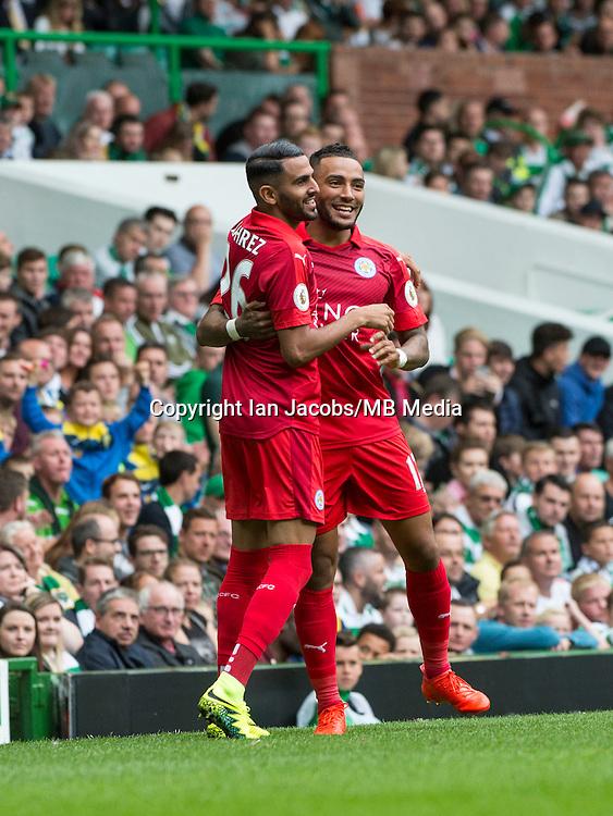 Football, International Champions Cup, Parkhead Stadium, Glasgow. Celtic v Leicester City. Leicester win 6-5 on penalties<br /> Pic shows: Danny Simpson congratulates Riyad Mahrez on his goal.