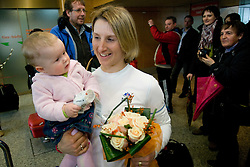 Slovenian biathlon athlete Tadeja Brankovic with her daughter Masa at arrival to Airport Joze Pucnik from Vancouver after Winter Olympic games 2010, on February 26, 2010 in Brnik, Slovenia. (Photo by Vid Ponikvar / Sportida)