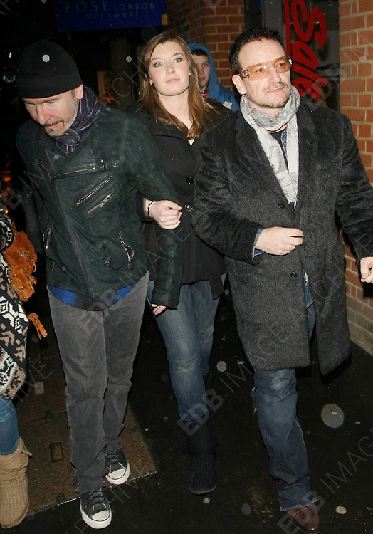 22.JANUARY.2010           LONDON<br /> <br /> BONO AND THE EDGE FROM U2 TAKING A BREAK FROM REHEARSAL'S FROM RECORDING THE CHARITY SONG IN AID OF THE VICTIMS OF HAITI DISASTER.<br /> <br /> BYLINE MUST READ : EDBIMAGEARCHIVE.COM<br /> <br /> *THIS IMAGE IS STRICTLY FOR UK NEWSPAPERS AND MAGAZINES ONLY FOR WORLD WIDE SALES AND WEB USE PLEASE CONTACT EDBIMAGEARCHIVE - 0208 954 5968