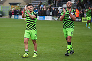 Forest Green Rovers Liam Shephard(2) and Forest Green Rovers Farrend Rawson(6) during the EFL Sky Bet League 2 match between Forest Green Rovers and Crawley Town at the New Lawn, Forest Green, United Kingdom on 5 October 2019.