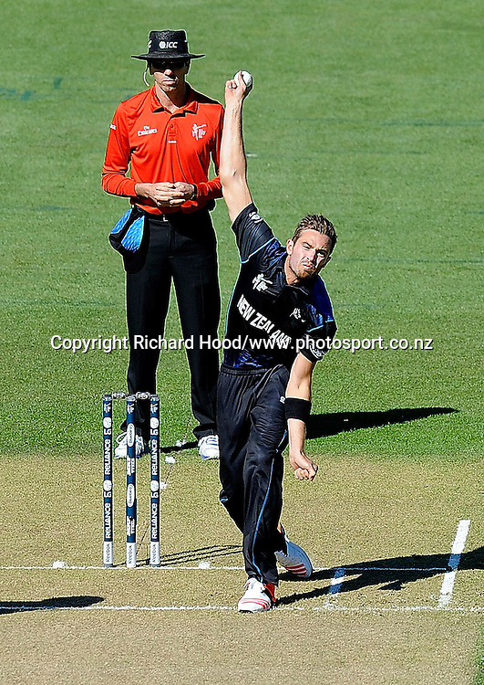 Tim Southee bowls for New Zealand during the ICC Cricket World Cup match between New Zealand and Scotland at university oval in Dunedin, New Zealand. Photo: Richard Hood/photosport.co.nz