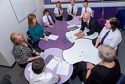 Pictured: John Swinney got to hear how the programme is working for parents and students in the Family Engagement room<br />