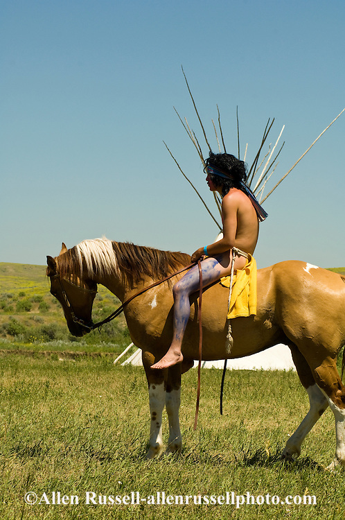 Custers Last Stand Reenactment, Battle of the Little Bighorn, Crow Indian Reservation, Montana, indian warrior