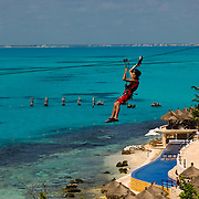 Tirolesa,Garrafon park. Isla Mujeres. Quintana Roo, Mexico.